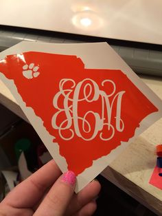 Clemson Paw SC State Monogrammed Decal