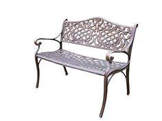 Oakland Living Mississippi Cast Aluminum Settee Bench, Antique Bronze