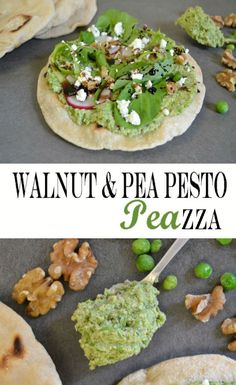 """Walnuts and peas combine to form a tasty walnut pesto that can be spread onto pizza dough for this nutrient packed Walnut """"Pea""""zza recipe."""