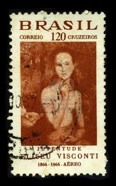 BRAZIL-CIRCA 1966:A stamp printed in BRAZIL shows image painting of Eliseu Visconti, born Eliseo d'Angelo Visconti (30 June 1866, Italy, - 15 October 1944, Rio de Janeiro, Brazil) is a painter, cartoonist and Brazilian teacher Interphil, circa 1966. Stock Photo
