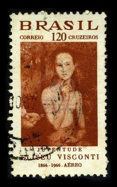 BRAZIL-CIRCA 1966:A stamp printed in BRAZIL shows image painting of Eliseu Visconti, born Eliseo d'Angelo Visconti (30 June 1866, Italy, - 15 October 1944, Rio de Janeiro, Brazil) is a painter, cartoonist and Brazilian teacher Interphil, circa 1966. Stock Photo
