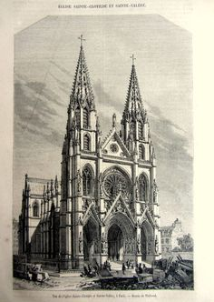 1857 Vintage Basilica of Saint Clotilde print by LyraNebulaPrints, $22.00