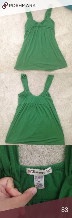 kelly green top from Forever 21 Green tank top, 95% Rayon 5% spandex Tops Tank Tops