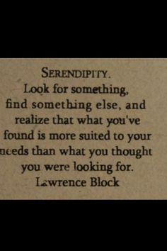 Serendipity! My favorite, adorable, meaningful word!