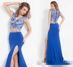 2015 Gorgeous Royal Blue Slit Side Sexy Prom Dresses With Crystals Jewel Two Piece See Through Women Formal Evening Party Gowns #dhgatePin