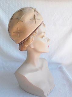 1960's Vintage Beige Bubble Toque Hat with by MyVintageHatShop
