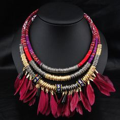 big chunky necklaces vintage boho style collares leather cord chain indian feather necklace collier ethnic metal circle necklace-in Choker Necklaces from Jewelry on Aliexpress.com | Alibaba Group