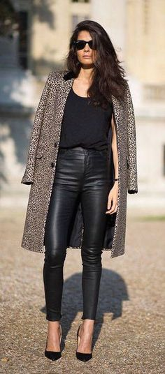 #street #style / leather pants + coat