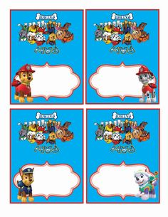 paw patrol Food Labels Food Tents Cards Tags paw by alisprint
