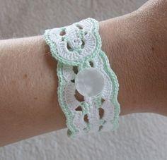 Vintage Inspired Crochet Bracelet in Mint Green and by KweenBee, $10.00