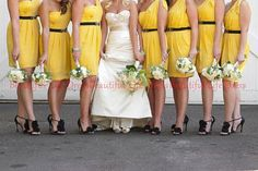 yellow dress, grey belt and shoes, white embellishments? yellow bridesmaid dress / yellow bridemaids dress / yellow maids dress / yellow dress / yelllow gown