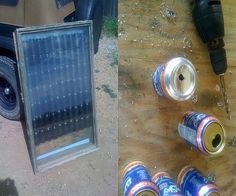 Passive solar water heater with recycled materials