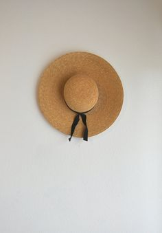 Vtg. Straw Wide Brim Hat w/ Black Ribbon by GenerationCollective, $17.00