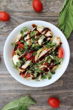 Chicken Caprese Zoodle Salad - the perfect fresh, light summer meal!