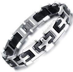 $ 11.90. Ostan Men's Stainless steel cross chain link bracelet silver black Gents Bracelet, Ring Bracelet, Silver Bracelets, Bracelets For Men, Bangles, Cross Chain, Stylish Men, Stainless Steel Bracelet, Male Jewelry