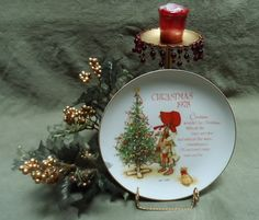 1978 Holly Hobbie Christmas Plate with Gold Trim by Andie83, $10.50