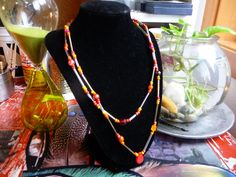 Synthetic Cat Gut Double Strand Seed, Plastic, Glass Bead Necklace by cherokeedancing. Explore more products on http://cherokeedancing.etsy.com