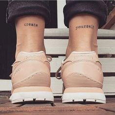100 Ankle Tattoo Ideas for Men and Women - Tatoos - Tattoo Frauen Shoulder Tattoo Quotes, Arm Quote Tattoos, Thigh Tattoo Quotes, Inspiring Quote Tattoos, Meaningful Tattoo Quotes, Small Quote Tattoos, Foot Tattoos, Girl Tattoos, Small Quotes