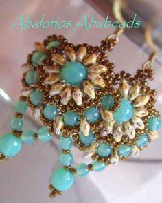 Sunflower earrings beaded by Christinia Hernandez.