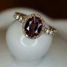 Purple Spinel and Diamond Ring 18k Yellow Gold by JdotC on Etsy, $850.00