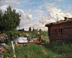 Hjalmar Munsterhjelm (1840-1905) Virran rannalla / Bank of the river 1870 - Finland
