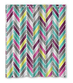 "PRANO Colorful Chevron Design Aztec Shower Curtain,100% Polyester,60""(w) x 72""(h)"