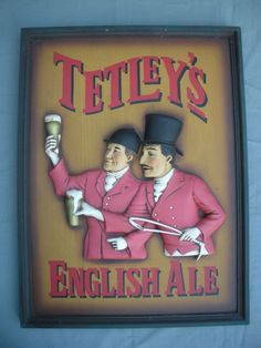 Vintage Wooden Tetley's English Ale Beer Bar Pub Sign Collectible Frame Raised