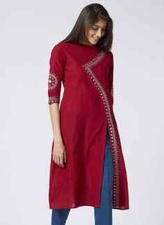 Different types of kurtis design - The Handmade Crafts Salwar Designs, Silk Kurti Designs, Kurta Designs Women, Kurti Designs Party Wear, Indian Kurtis Designs, Kurti Back Designs, Latest Kurti Designs, Designs For Dresses, Dress Neck Designs