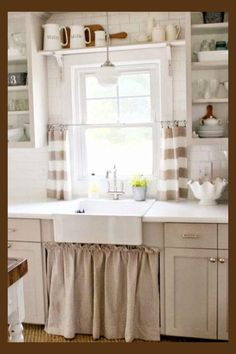 Ideas For Shabby Chic Kitchen Window Curtains French Country White Countertops, Kitchen Window Treatments, French Country Kitchen, French Country Kitchens, Farmhouse Kitchen Curtains, Kitchen Remodel, Kitchen Design, Country Kitchen Designs, Tuscan Kitchen