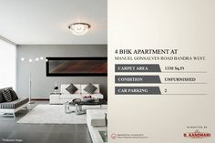 Residential 4 BHK Apartment available for sale at Manuel Gonsalves Road Bandra West. Condition - Unfurnished Car Parking - 2 For further details kindly contact:- Karan Marchande - 9821294967 Property Sale, Car Parking, Mumbai, Luxury Homes, Carpet, Real Estate, Luxurious Homes, Luxury Houses, Bombay Cat