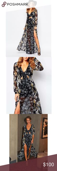 Millie Mackintosh 70s Floral Tie Front Maxi Dress In excellent condition! Absolutely stunning on! UK size 14, US 8/10. Millie Mackintosh  Dresses Maxi