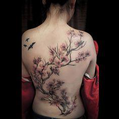 Chronic Ink Tattoo - Toronto Tattoo Cherry blossom tree tattoo by Marilyn. #cultural #tattoo #tattoos