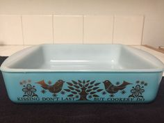 Rare Kissing Don't Last But Cookery Do Sears Glasbake Turquoise Gold Brownie Pan