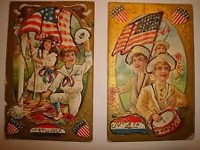 4th of July 1909 original set of 2 gold paint embossed Rare