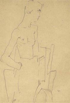 Egon Schiele (1890-1918) Weiblicher Akt mit Sessel