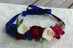 Felt Flower Crown // Red White Blue // Fourth by fancyfreefinery, $20.00