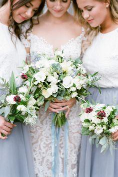Lisianthus, ranunculus, scabiosa, and greenery wedding bouquet: Photography : Tamara Gruner Photography Read More on SMP: http://www.stylemepretty.com/little-black-book-blog/2016/11/03/rustic-elegant-colorado-wedding/