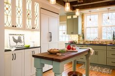 Island like mine.  It might be a pistachio green or weekend getaway by BM and the light cabinets BM Man on the Moon.   Farmhouse Kitchen by New England Design Elements