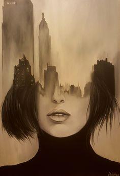 Şehirli Kadın by Pelin Ağın - Tuval üzerine Yağlı Boya - 70x100 | Woman of City by Pelin Agin - Oil on Canvas - 70x100