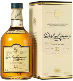Dalwhinnie 15 Year Old Single Malt Scotch. Dalwhinnie, Scotland. Founded in 1897. This Single Malt is a subtle, yet distinct Scotch from the Highland Region, with a light nose and tastes of floral, caramel, honey, and a touch of smoke.  The finish is very smooth. Dalwhinnie is my Favourite Single Malt Scotch.