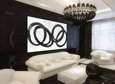 Huge Large Canvas prints add a unique touch to your home. Modern, stylish and unique design will be the most special piece of your decor. Especially for those who like abstract works, black and white acrylic painting can be prepared in desired sizes  handmade Original painting, circles abstract acrylic wall art, mid century black and white, large abstract painting, Contemporary Painting  16x24 (40x60cm) $75 20x30 (50x76cm) $110 30x40 (76x102cm) $180 36x48(92x122cm) $240 40x53.5(102x136cm)…