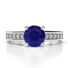 Gold / platinum princess and round cut sapphire and diamond engagement ring Designer Engagement Rings, Diamond Engagement Rings, Blue Sapphire Rings, Sapphire Diamond, Gold Platinum, Heart Ring, Rose Gold, Princess, Accessories