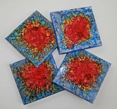 Hand Painted Ceramic Tile Coasters  Set of Four by GroovyCool, $20.00
