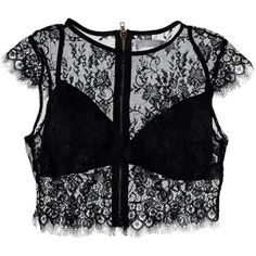 Nasty Gal See it Through Lace Crop Top (540.960 IDR) ❤ liked on Polyvore featuring tops, lace top, sheer lace top, lacy tops, sheer crop tops and crop tops