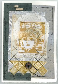 Card by Susie Campbell using Darkroom Door Arty Mosaic Collage Stamp and Venetian Vol 2 Rubber Stamps.