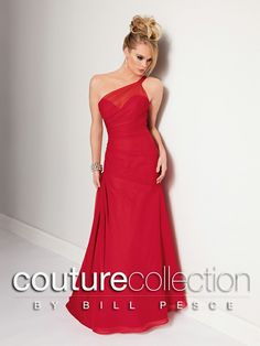 SPRING 2014!! Style #1700: Shown in Cherry…Draped one shoulder chiffon gown with sheer neckline and full trumpet skirt. Available in sizes 0-34 and Jr. sizes 4-16.