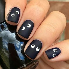 They are so cute #nails #funnynails #naildesign #blacknails #nailswitheyes