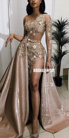 A-line Lace Sexy High Slit Long Sleeve See Through Unique Prom Dresses, Black Girl Prom Dresses, Prom Dresses Long With Sleeves, Dresses Short, A Line Prom Dresses, Bridesmaid Dresses, Bridesmaids, Cheap Formal Dresses, Elegant Party Dresses, Unique Prom Dresses