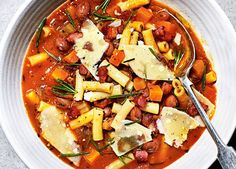 This Italian-inspired pasta and borlotti bean stew is a hug in a bowl. It