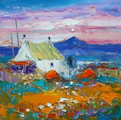Haystacks and Croft at Ben More, Mull by Jolomo - John Lowrie Morrison